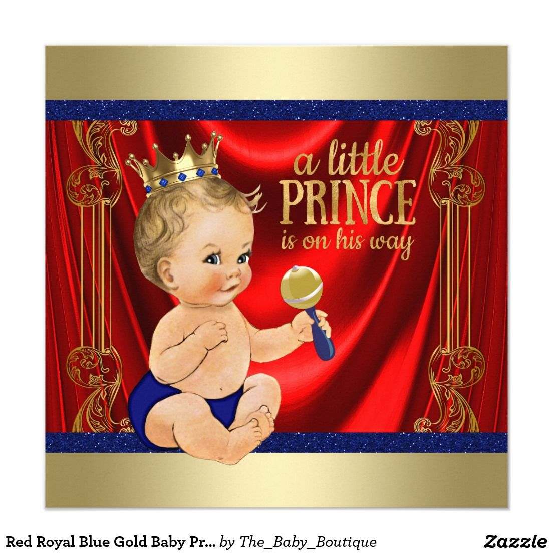 Red Royal Blue Gold Baby Prince Baby Shower Invitation | Prince Baby ...