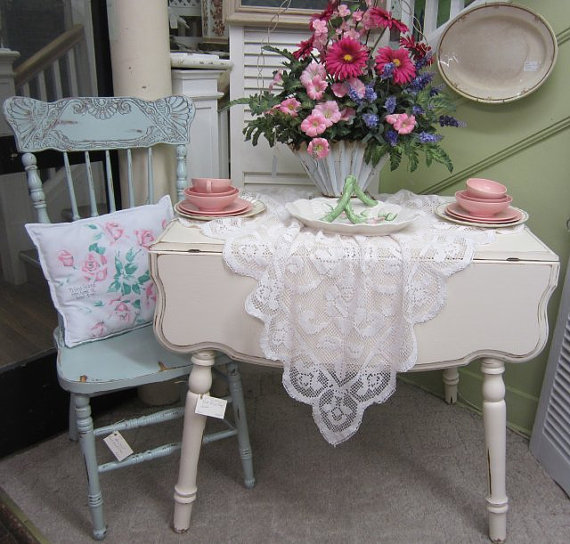 Shabby Chic Kitchen Table Centerpieces: Vintage Shabby Chic Kitchen Table Drop Leaf Hand Painted