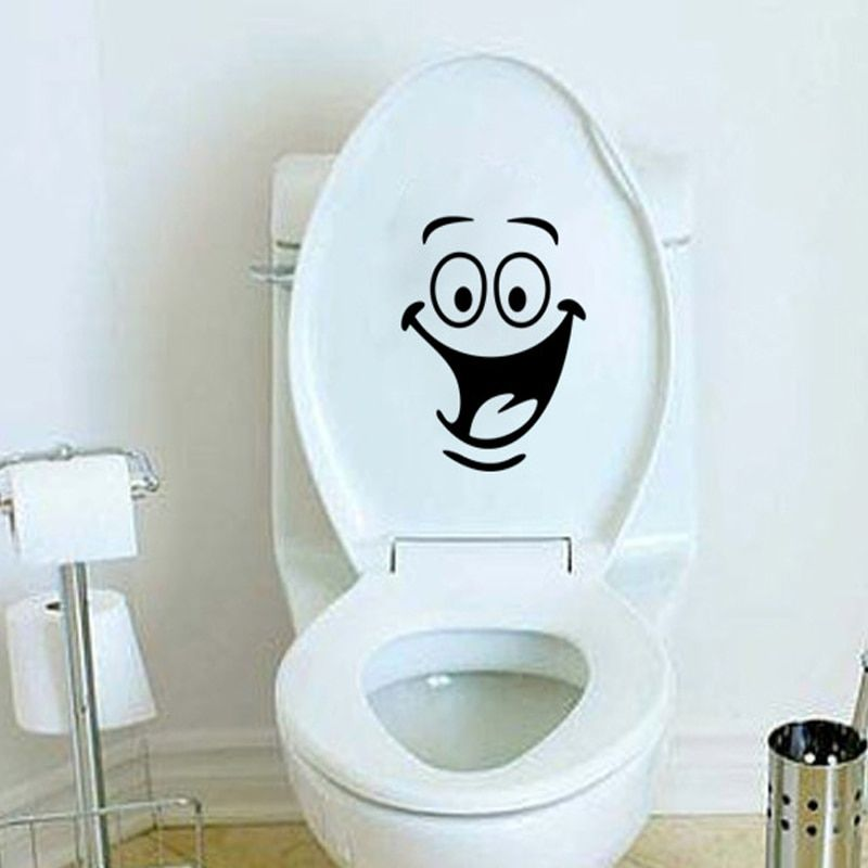 Toilet Seat Lid Sticker Funny Smile Bathroom Decals Removable Wall Art Tiles A