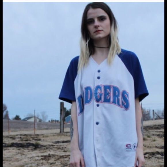 "90's Style - Dodgers Baseball Jersey ⭐️Garment Details⭐️  {Conditon}  Good Vintage  {fabric} Unknown- poly feel  {Size} unknown- fits like OS    {Garment Measurements}  Bust: 42""  Length: 27""   ~~~~~~~~~~~  {overview}  --slight even fading and gentle wear  --button up front  --fits XS-L   #grunge #sports #90s #baseball #Athletic #tomboy #grunge #oversized #summer #edgy #boyfriend #dodgers Truefan Tops Tees - Short Sleeve"