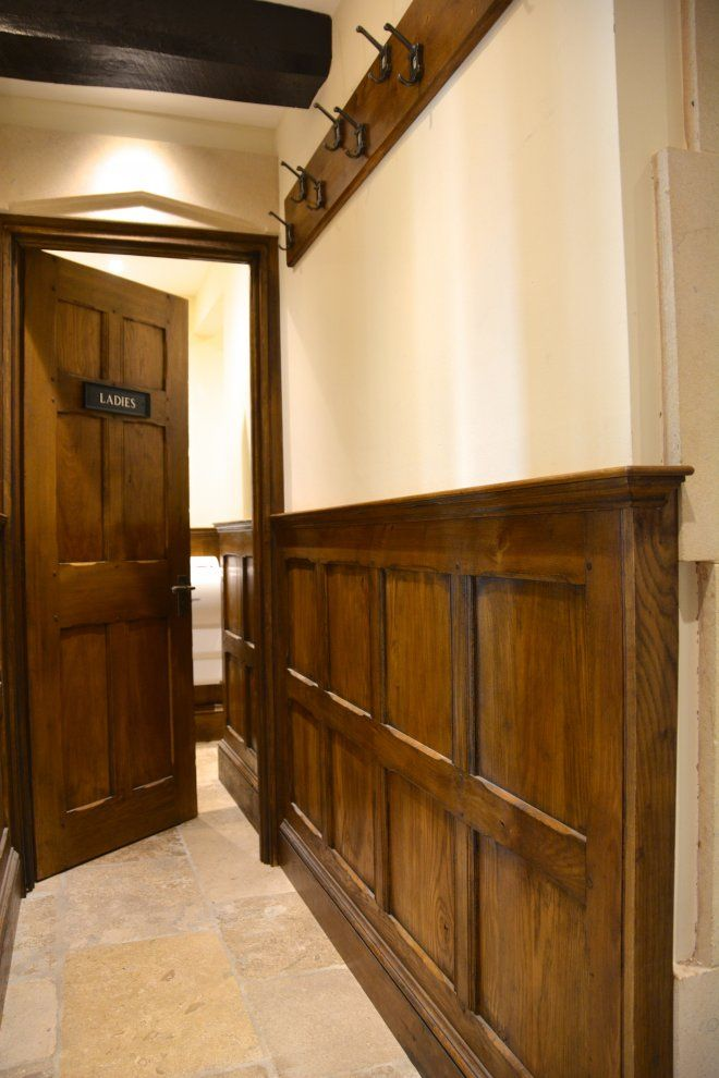 Solid Oak Dado Height Panelling And Solid Oak Panelled Door Wooden Panelling Oak Panels Rustic Wainscoting
