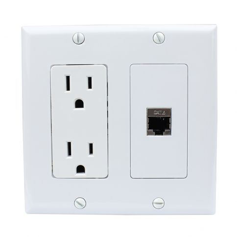 New Portable Installation 15 Amp Electrical Outlets And 1 Port Shielded Cat6 Ethernet Wall Plate Plates On Wall Electrical Outlets Mechanical Room