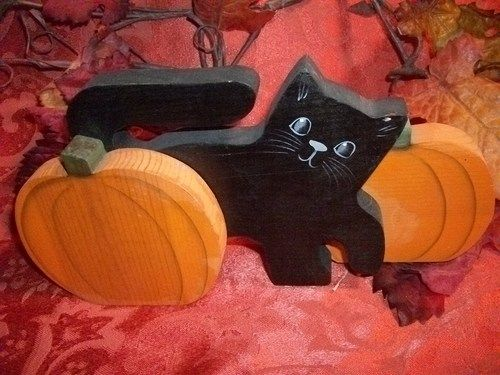 Wood Black Cat and Pumpkin Shelf Sitter, Handcrafted Halloween Decor - halloween decorations black cat