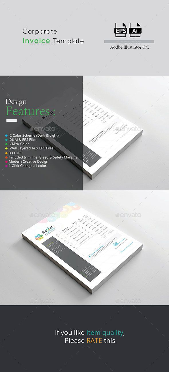 Invoice Grey Colored Vector Eps Flyer A4 Invoice