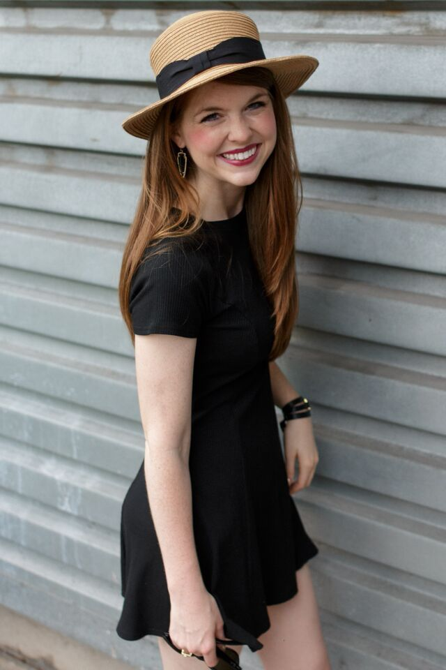 Black T-shirt dress and straw hat | #MockingbirdStyles | Southern Elle Style Shop Share | Dallas Fashion Blogger