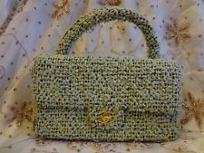 Authentic CHANEL 2.55 Green Tweed Classic COCO Flap Hand Bag Purse T190 RARE