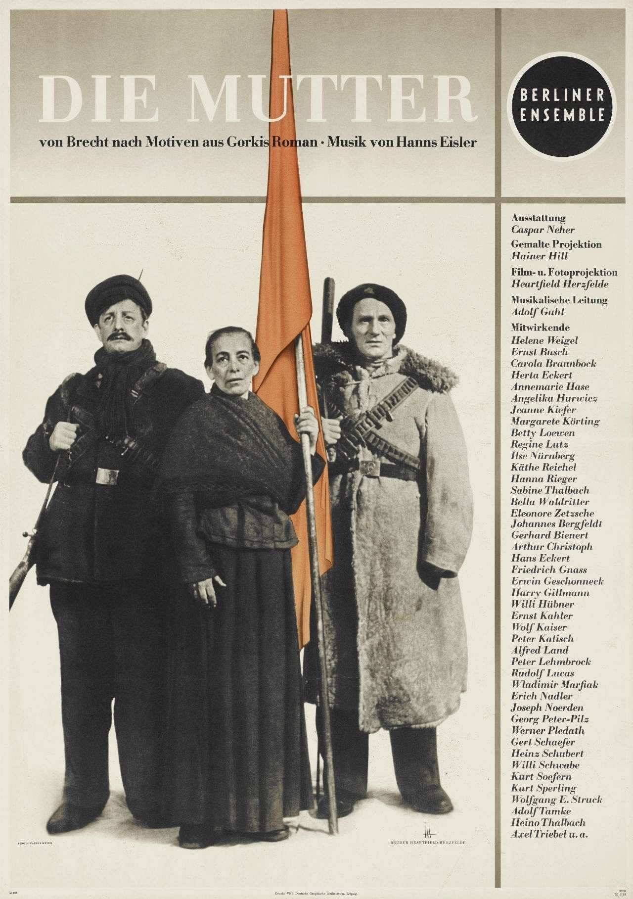 Die Mutter 1951 John Heartfield German 1891 1968 Poster Based On Gorky S 1906 Novel Of The Same Name Brecht S Play Famous Communists Literature Novels