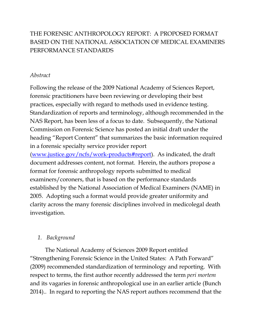 Pdf The Forensic Anthropology Report A Proposed Format Based On Intended For Te Research Proposal Example Template Essay Topics Topic