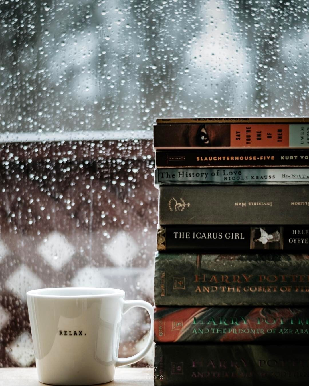 Coffee and books and maybe a little rain. Pitter patter