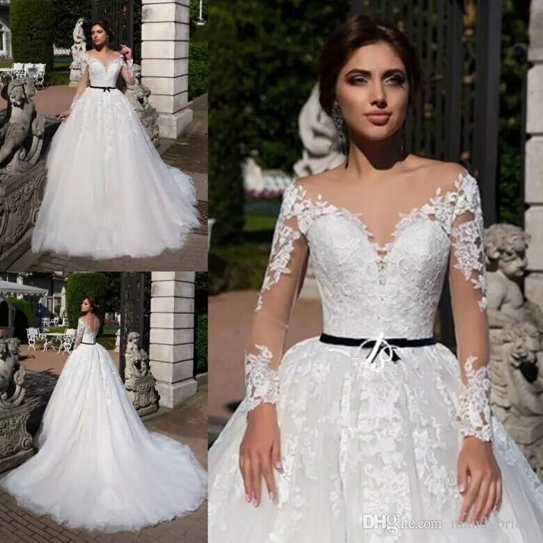 2018 Elegant Lace Ball Gown Wedding Dresses Sweetheart Bridal Gowns ...