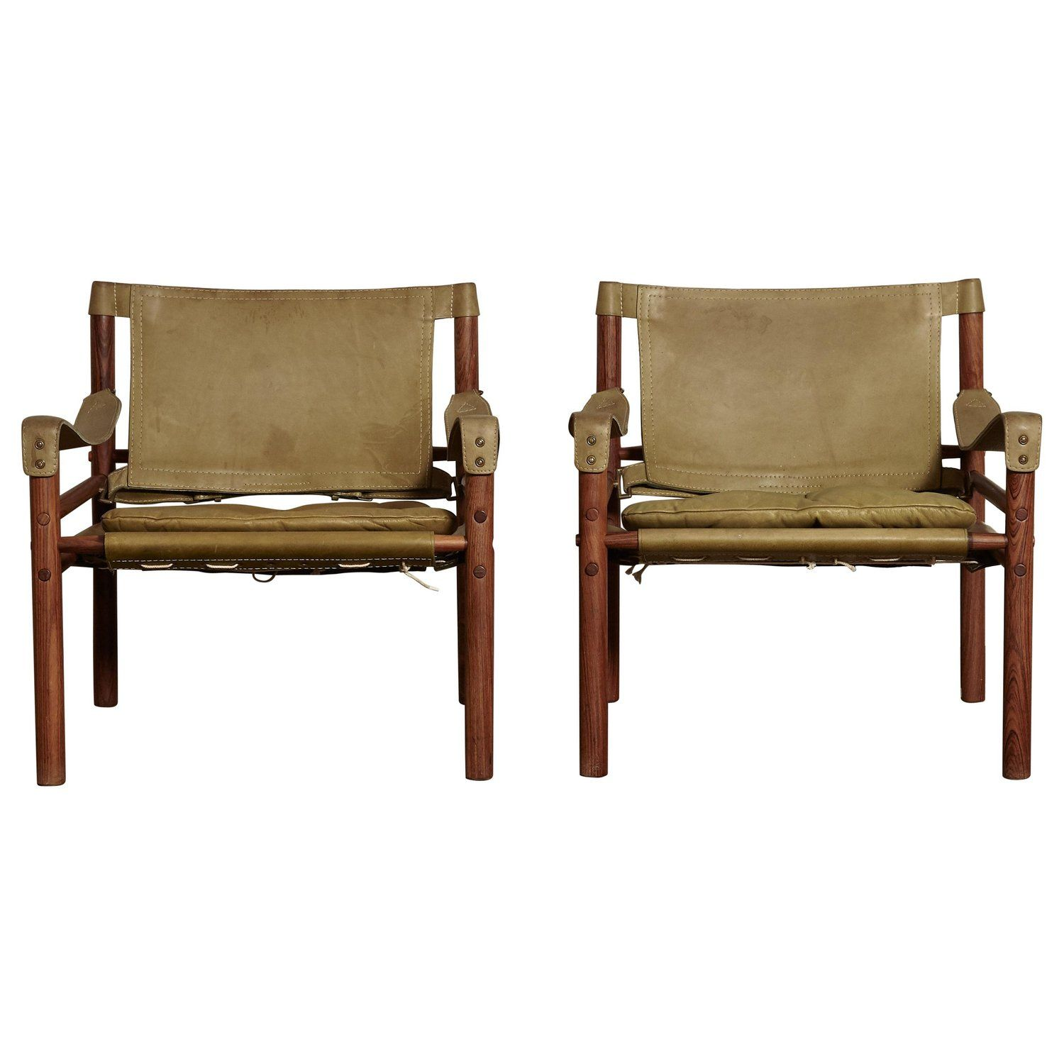 Safari Chairs Pair Of Arne Norell Safari Chairs Green Leather Sweden 1970s In