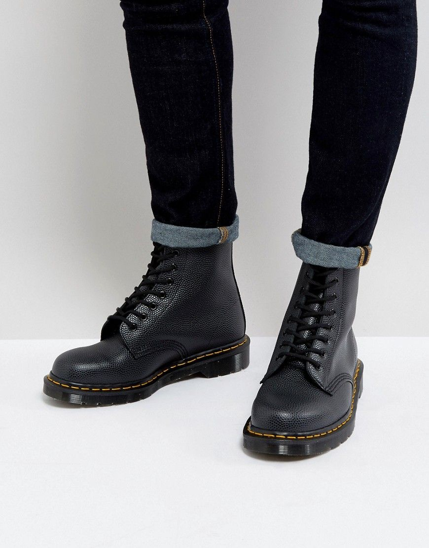DR. MARTENS 1460 Pebble Mens Black Leather Casual Dress Lace