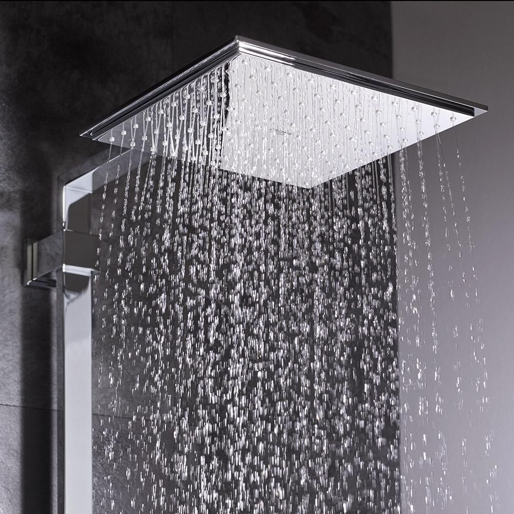 Grohe Euphoria 1 Spray 6 In Single Ceiling Mount Fixed Rain Shower Head In Starlight Chrome 27705000 The Home Depot Bathroom Wallpaper Trends Shower Heads Shower Panels