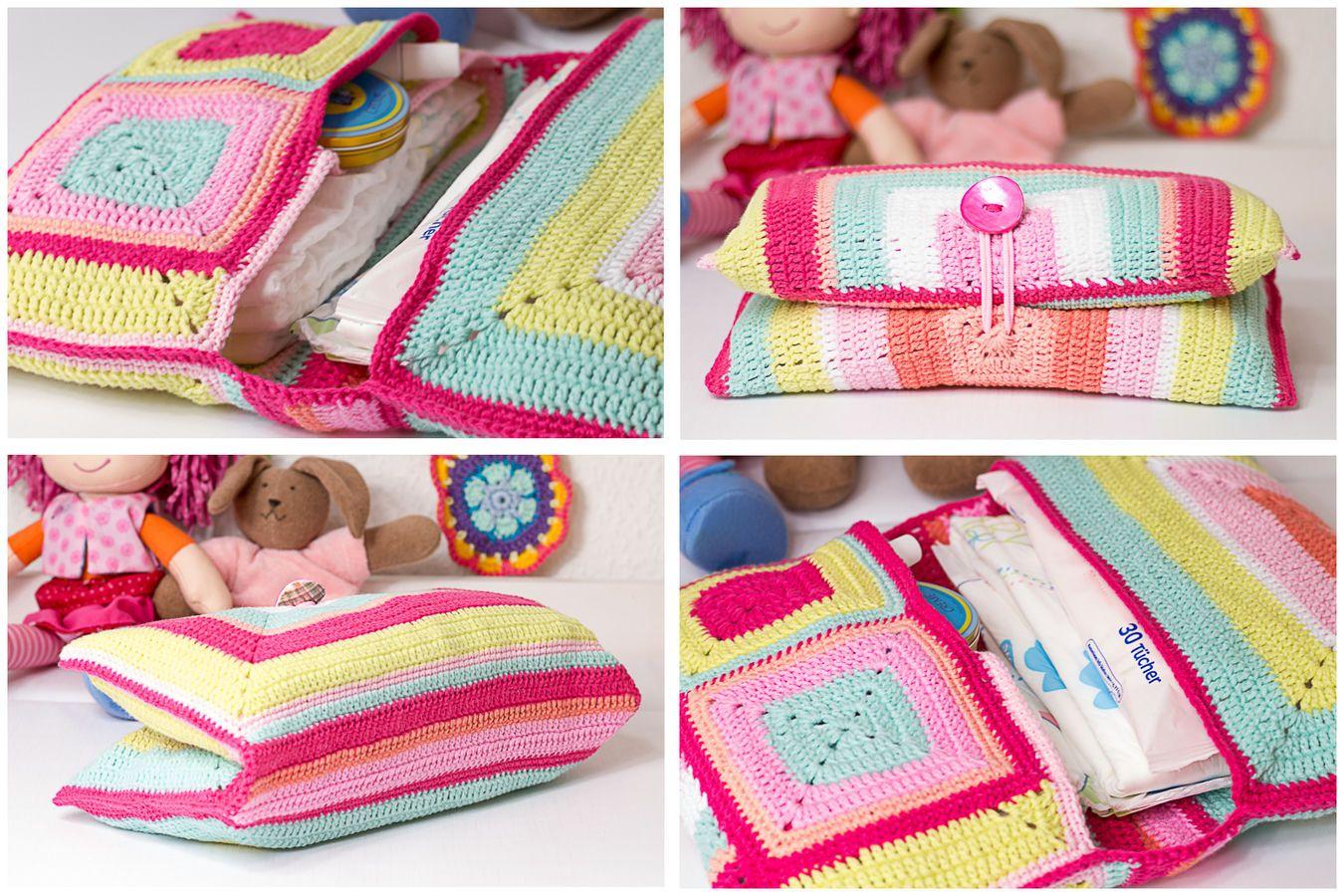 Windeltasche häkeln aus Granny Squares | Crochet
