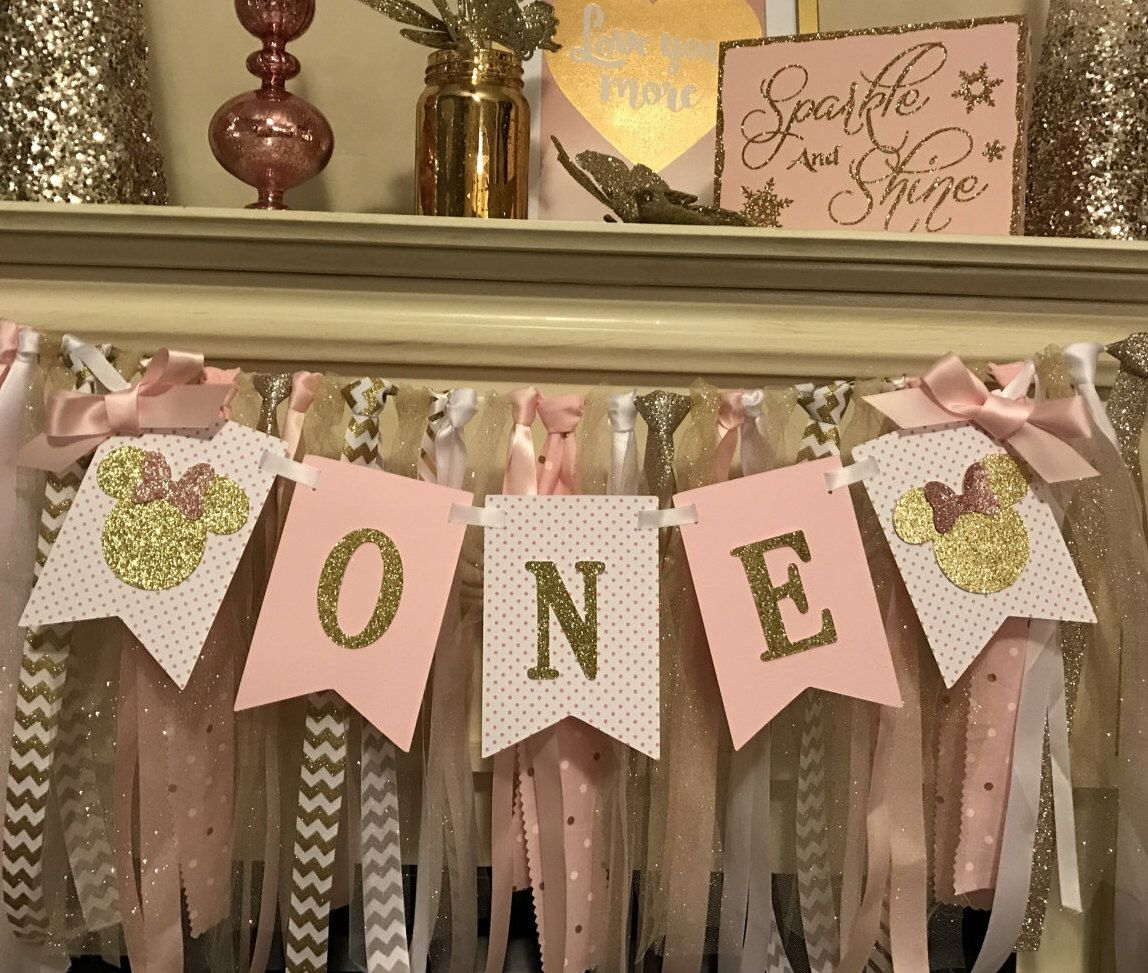 Pink and Gold First Birthday HIGH CHAIR Banner First Birthday