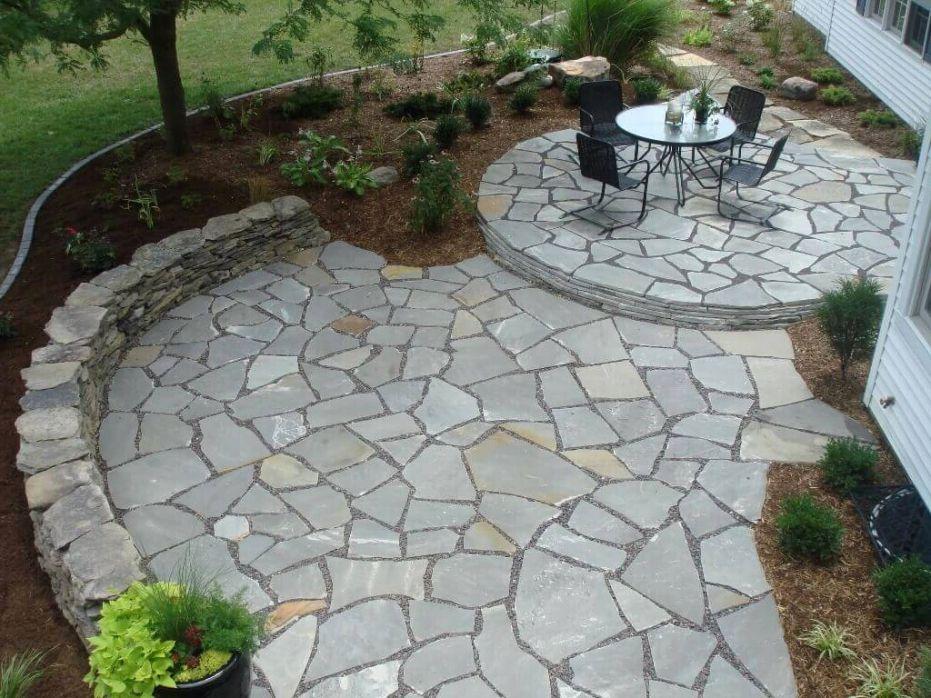 Flagstone Patio Cost Per Square Foot Square Flagstone Patio Ifso2016 Com Dos And Don Ts On Buildin Small Patio Garden Patio Garden Design Landscaping Costs
