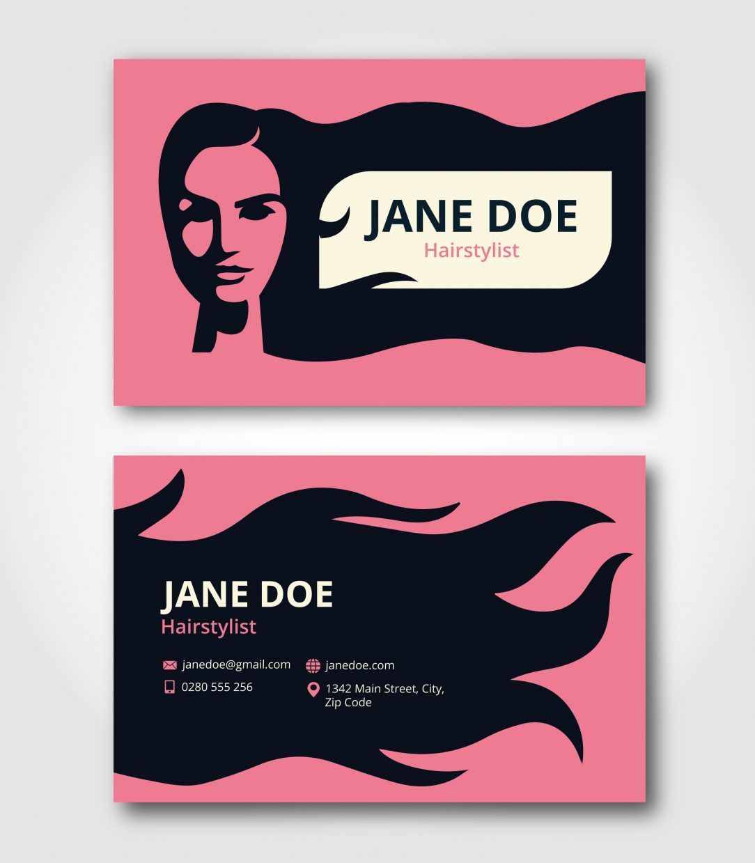 Black hair stylist business cards creative professional