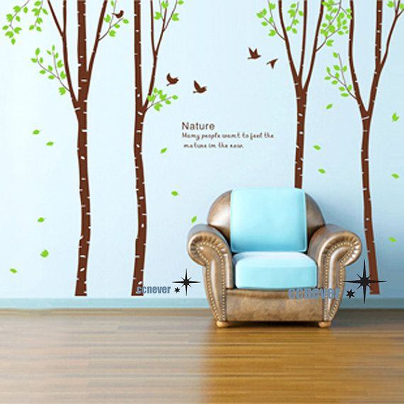 Birch Grove 4 Huge Tree Birds    Art Graphic Vinyl Wall Stickers Mural