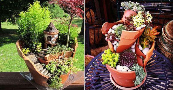 C mo hacer mini jardines reutilizando macetas rotas - Macetas de piedra para jardin ...