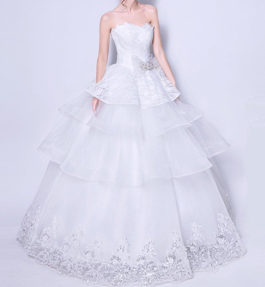 Nice awesome new wedding dress bridal gown lace ruffles any plus
