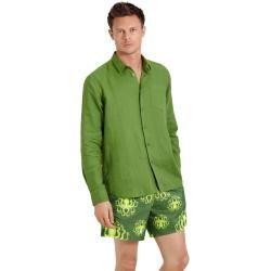 Herren Ready to Wear – Solid Hemd aus Leinen für Herren – Hemd – Caroubis – Grün – S – Vilebrequin V