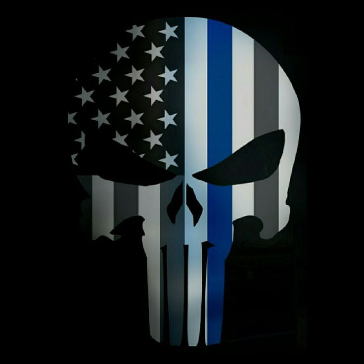 TATTERED punisher 5X4 INCH SUBDUED US FLAG Thin blue line SKULL REFLECTIVE DECAL