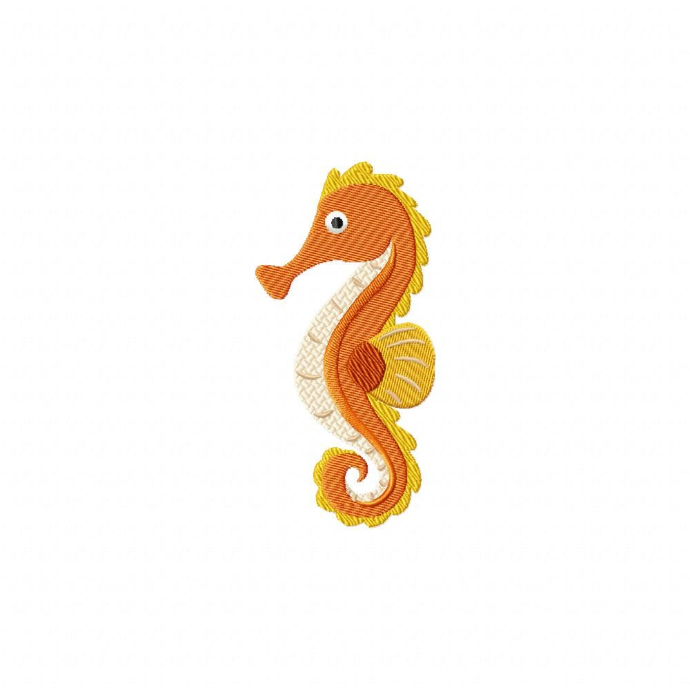 Cute Golden Seahorse Machine Embroidery Design – Daily Embroidery ...
