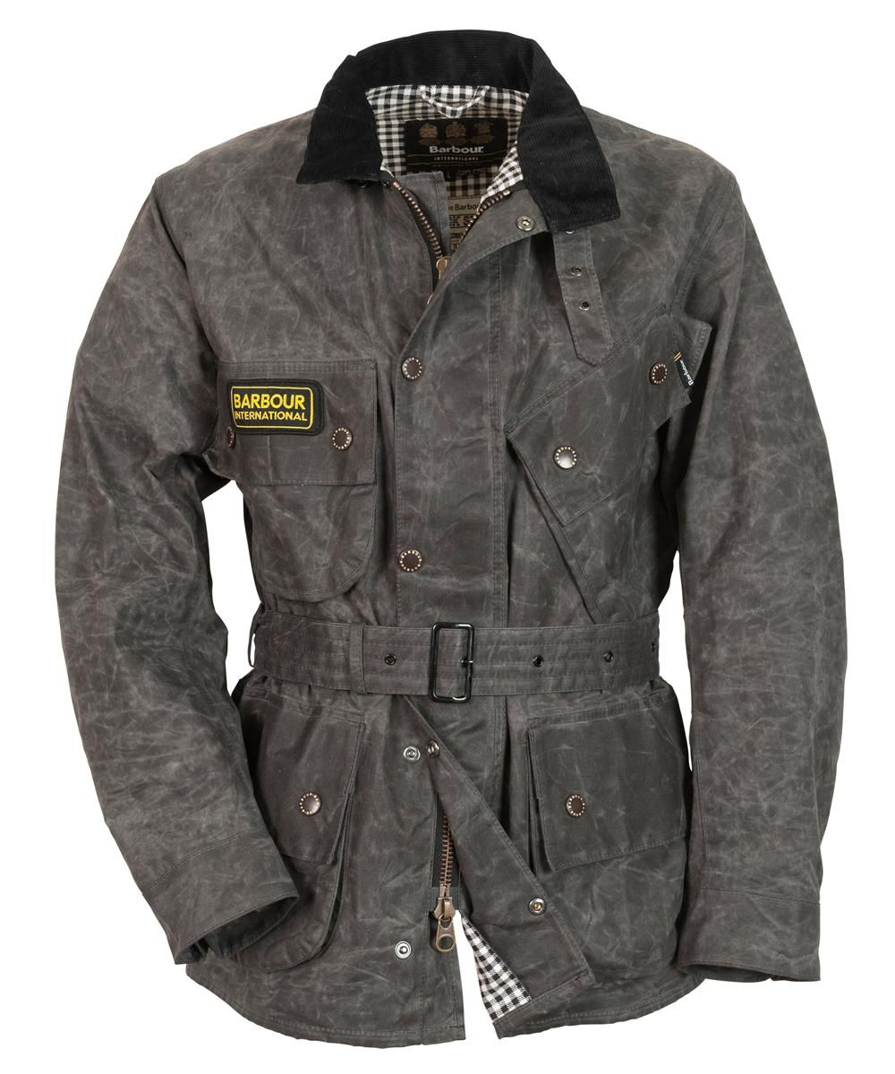 Mens Barbour A7 Waxed Jacket Is A Heavy Distressed Looking