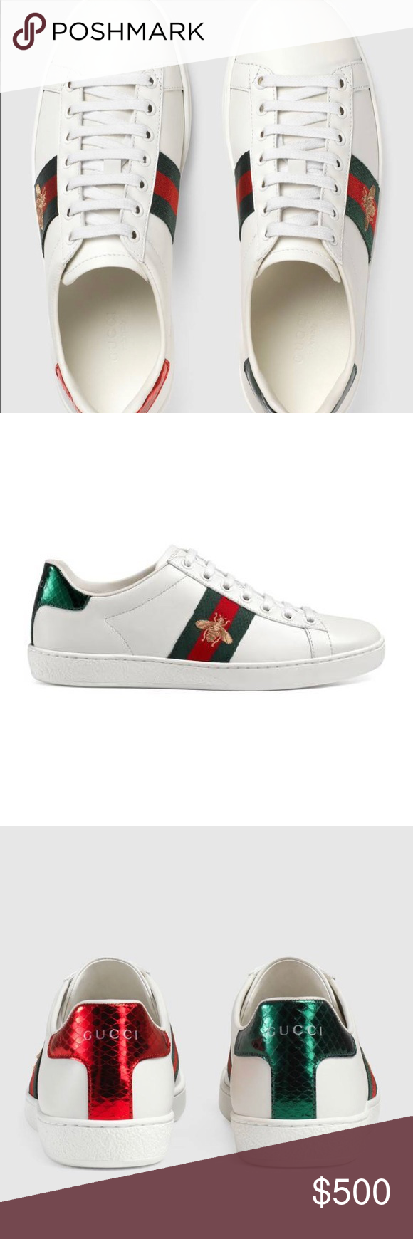 78faba61836 GUCCI ACE EMBROIDERED SNEAKER White leather with green and red web  grosgrain side detail with gold bee embroidery. Size 9 in women s.