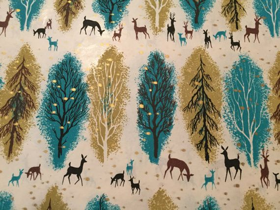 Vintage Christmas Wrapping Paper  Blue and by TheGOOSEandTheHOUND