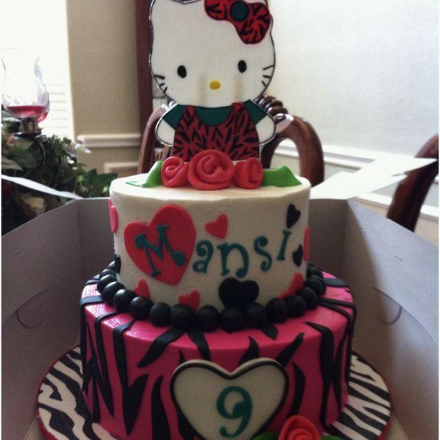 Hello Kitty Zebra Birthday Cake Birthday Cakes Pinterest Zebra