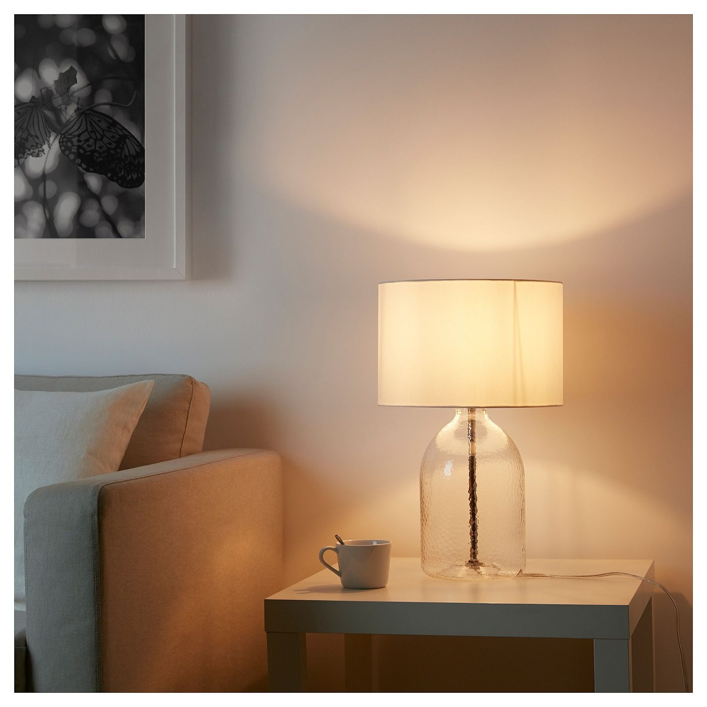 IKEA ALLANIT White, Glass Table lamp with LED bulb | White ...