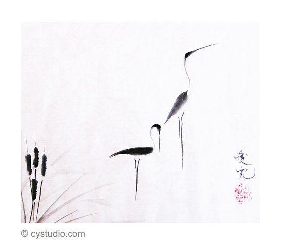 on typha pond signed print m of sumi e egrets gr ser. Black Bedroom Furniture Sets. Home Design Ideas