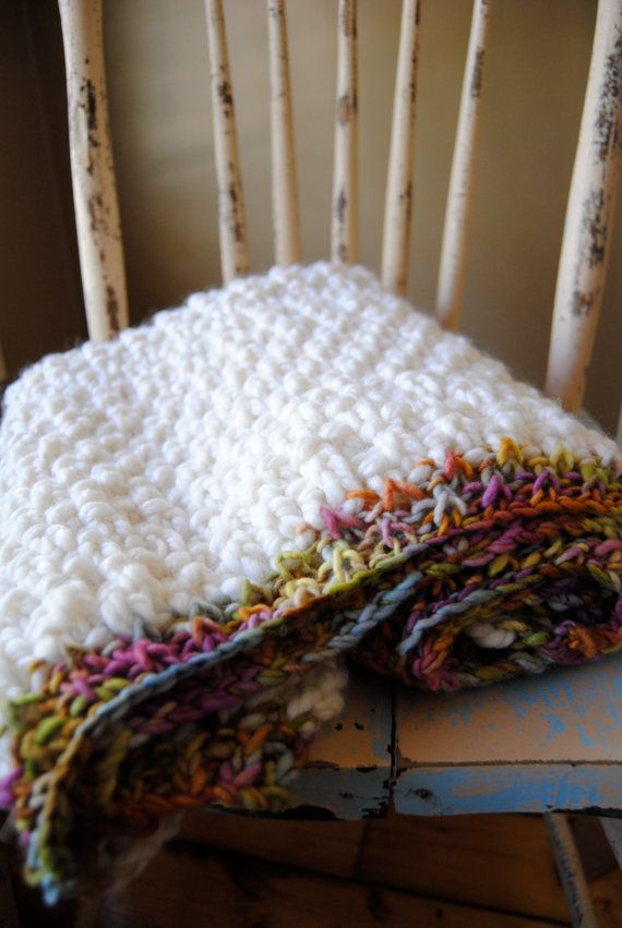 Chunky Knit Baby Blanket With Rainbow Trim Knitted Baby Blankets