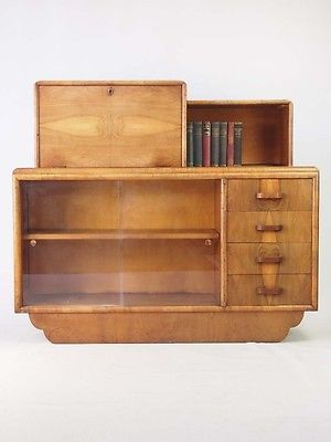 Art deco side cabinet walnut bureau vintage sideboard cupboard bookcase tv un · display cabinetscupboardsantique