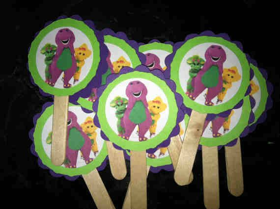 Barney Party Decorations Cupcake Toppers Print out an image of