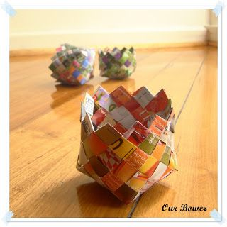 Our Bower: Paper baskets made from old magazines.
