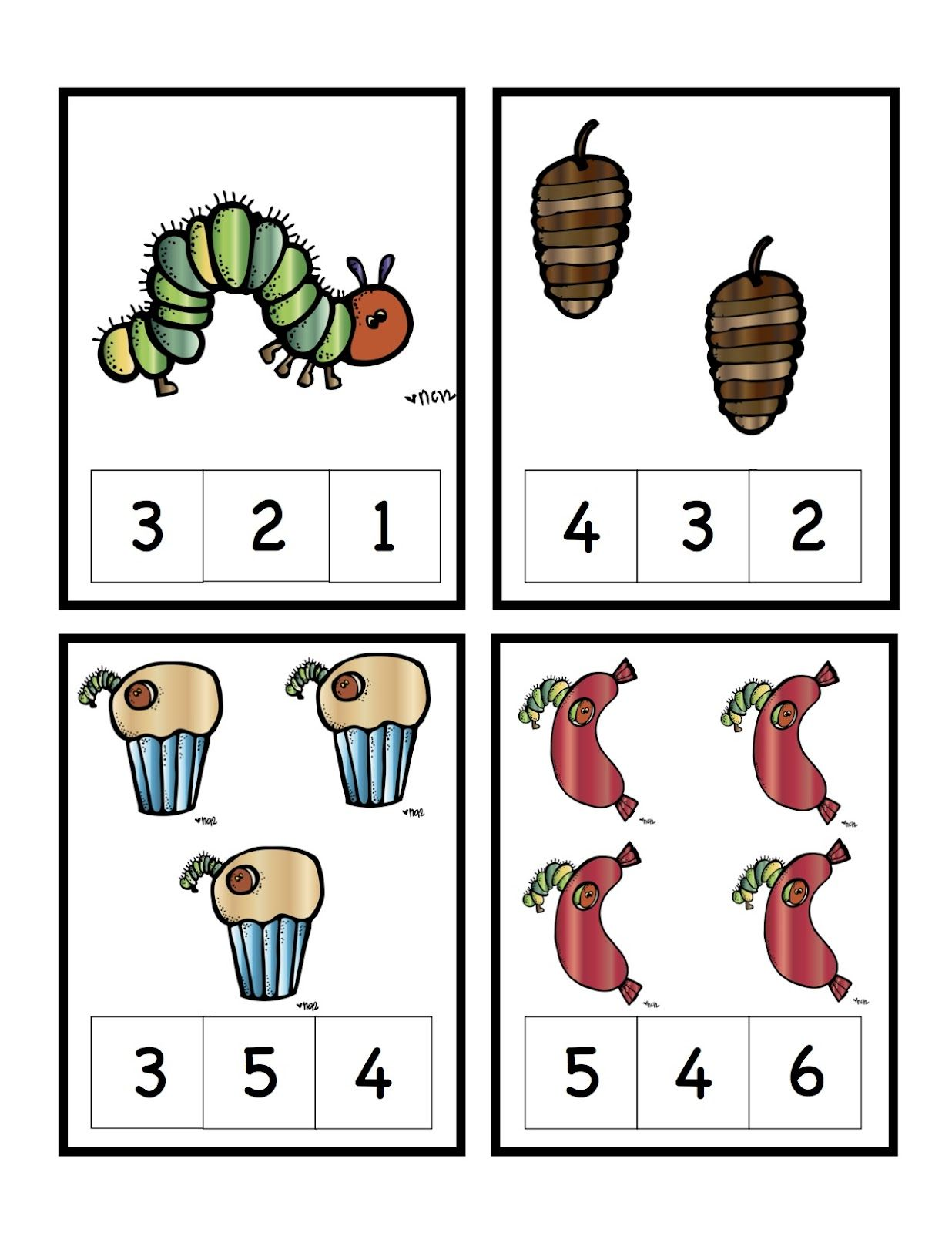 Preschool Printables Hungry Caterpillar Number Cards