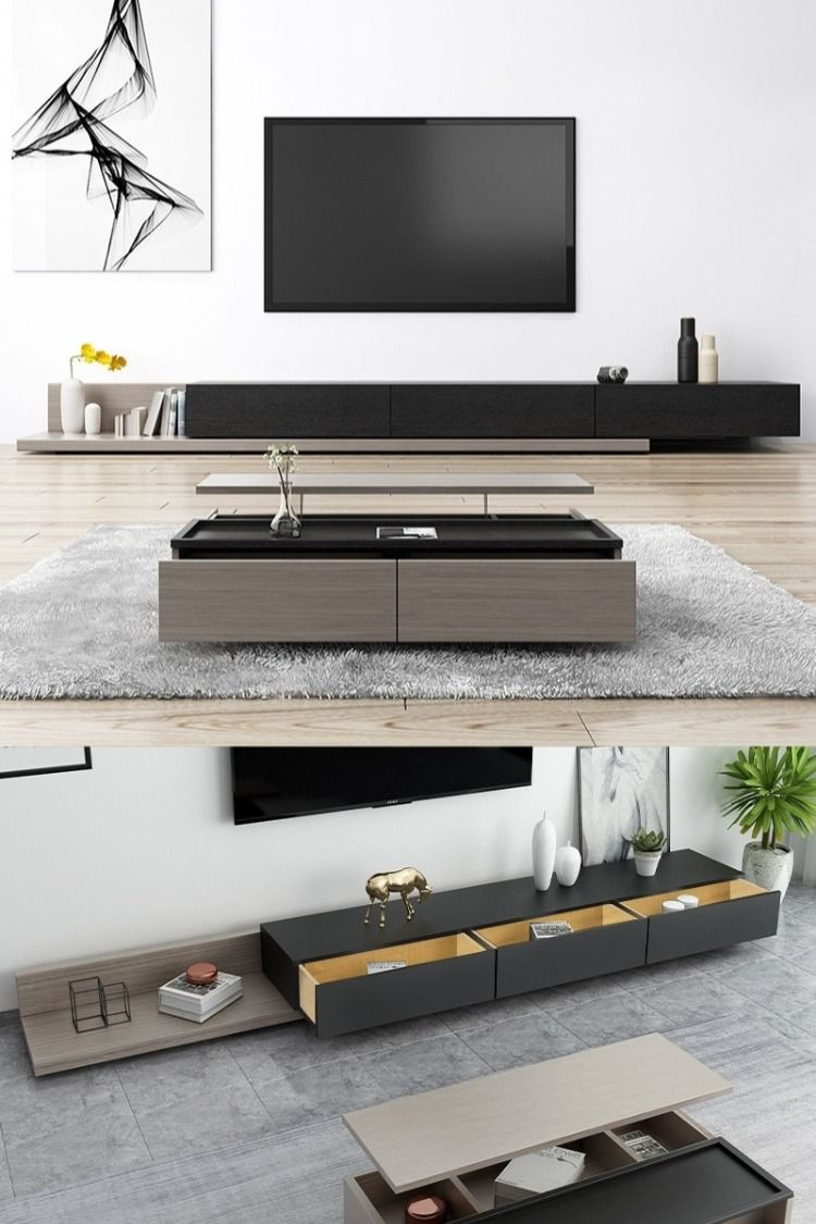 Kayla Wood Black And Gray Adjustable Tv Stand Console With Storage 79 In 2020 Big Living Room Design Modern Tv Room Tv Room Design