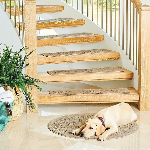 Best 100 Plush Cotton Stair Treads Set Of 4 Embossed Washable 400 x 300