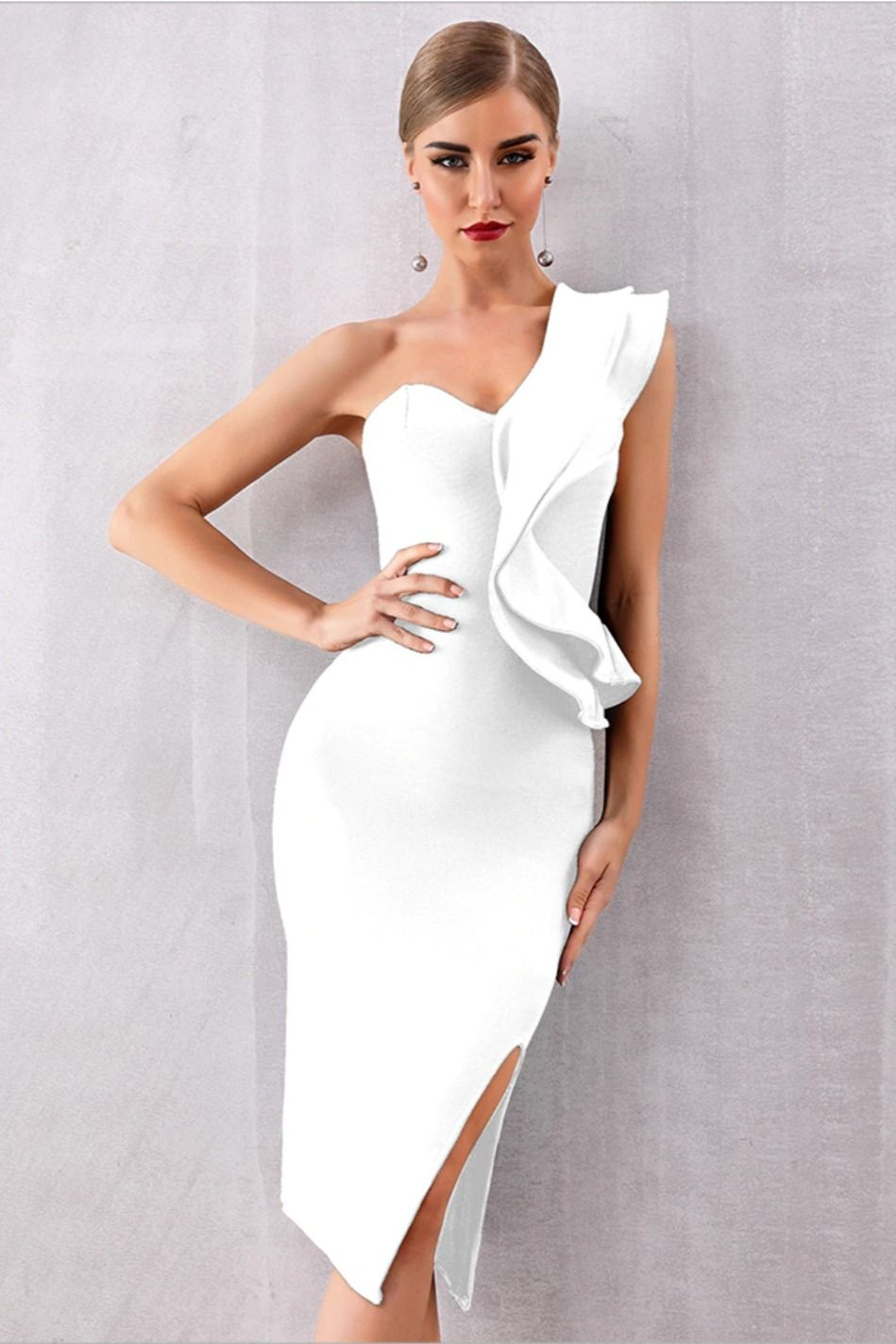 Luxurious 2019 Sexy Bandage Ruffles Bodycon Clube Dress - Club dresses, White bandage dress, Ruffle bodycon, Dresses, Evening party dress, Celebrity dresses -    SIZE CHART       CUSTOMER  REVIEWS