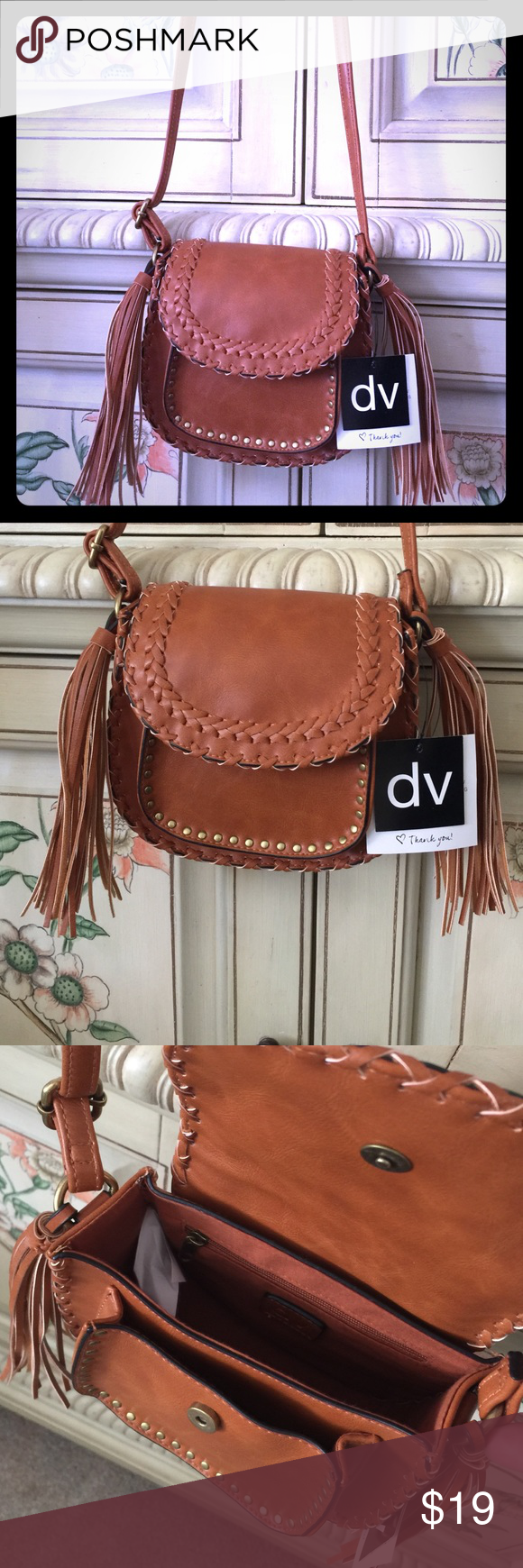 4ce311169be963 Cognac DV Crossbody mini bag Brown Crossbody mini bag from DV. Gold studs  on outer pocket, with tassels on each side. Inner zipper, outer pocket for  cell ...