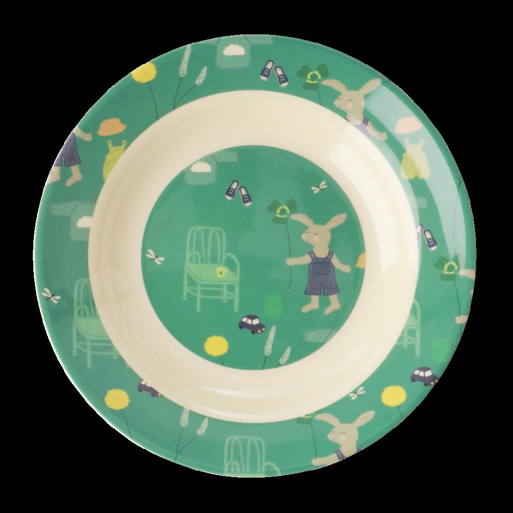 Green Bunny Rabbit Print Kids Melamine Bowl By Rice Dk Kids Melamine Melamine Bowls Bunny Print