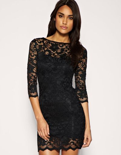 6. ASOS Slash Neck Lace Body-Conscious Dress - 10 Black Tie ...