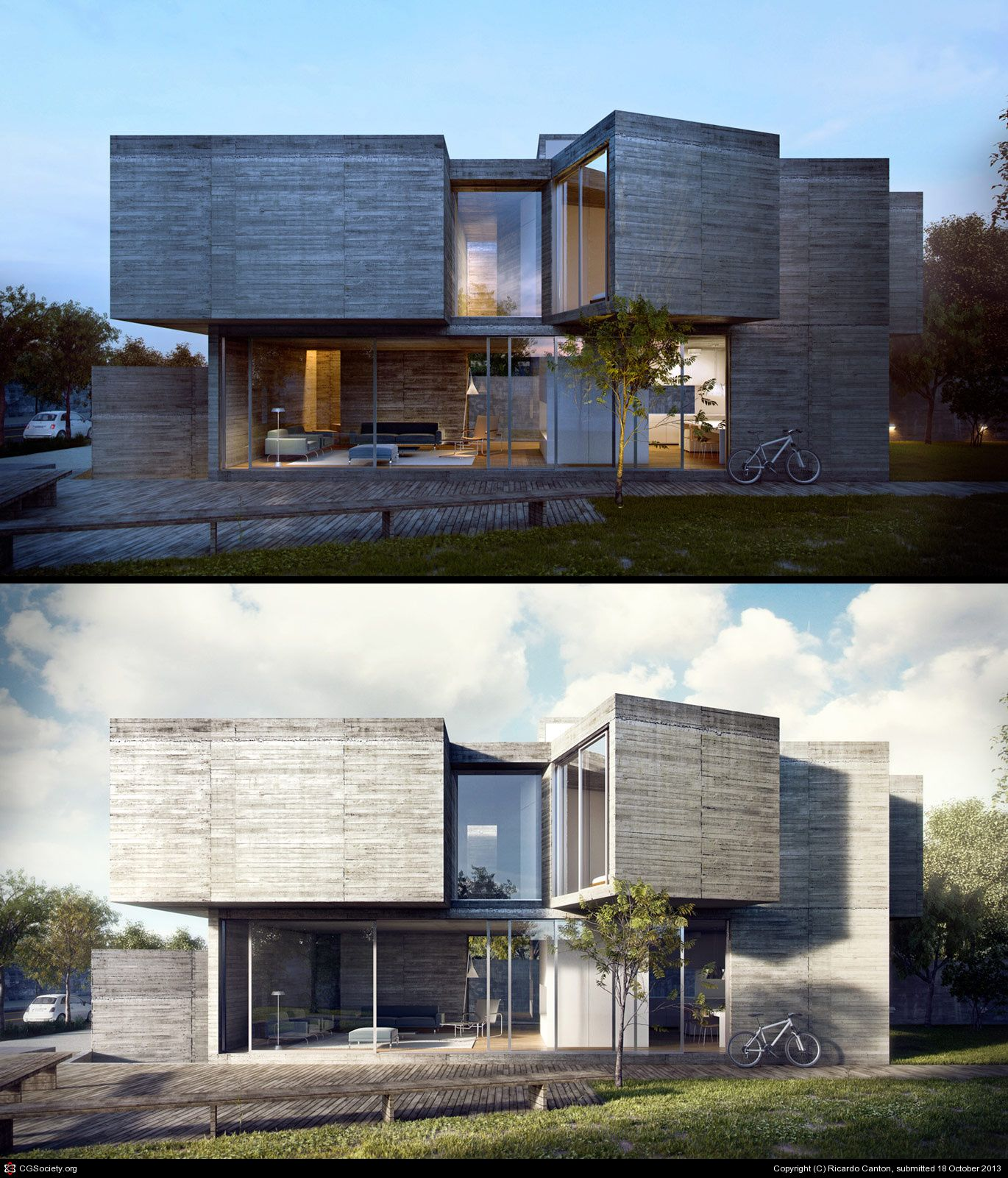 Architektur Rendering Photoshop Vivienda Render Render Night Architektur Visualisierung Haus