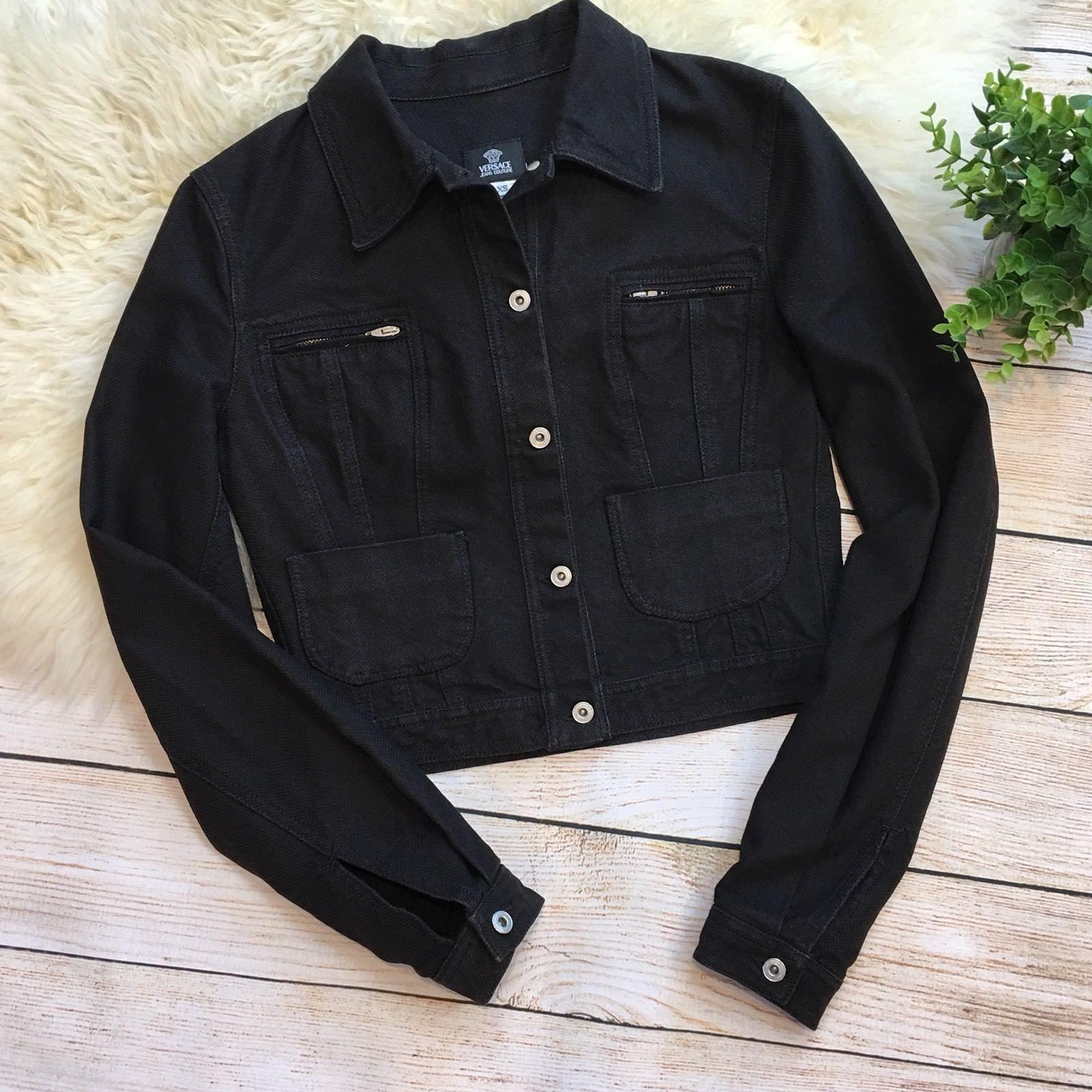 165 00 Versace Jeans Couture Black Denim Jean Jacket Women S Xs Vintage Versace Jeans Couture Jean Jacket Women Black Denim Jacket Black Denim Jeans