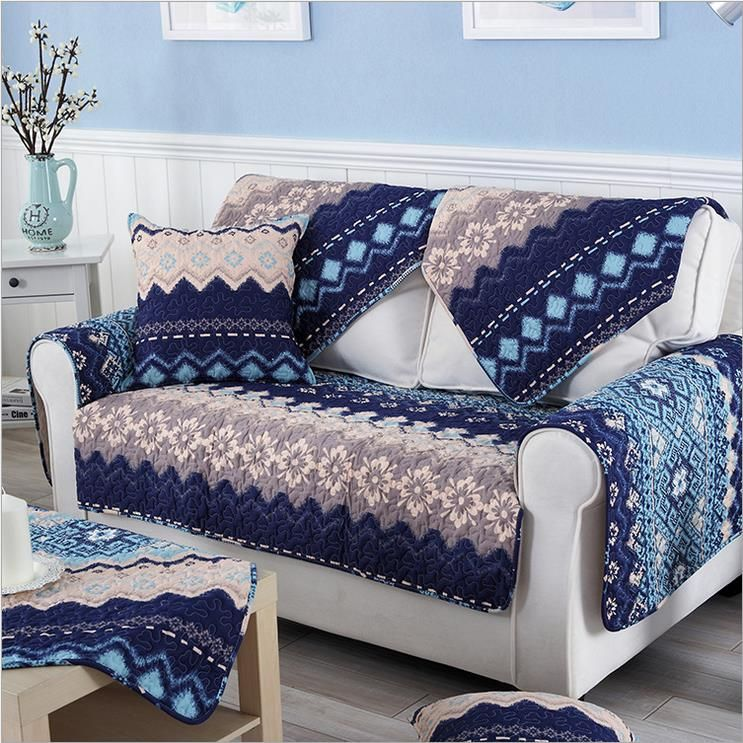 Fleeced Fabric Sofa Cover Bohemian Printing Soft Modern Slip Resistant Sofa Slipcover Seat Couch Cover F Luxury Chair Covers Slipcovered Sofa Fabric Sofa Cover