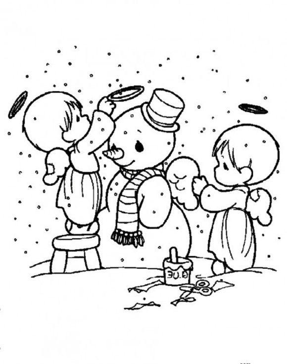 making snow angels coloring pages | Snowman Coloring Pages Cute Angels Decorating Snowman | 00 ...