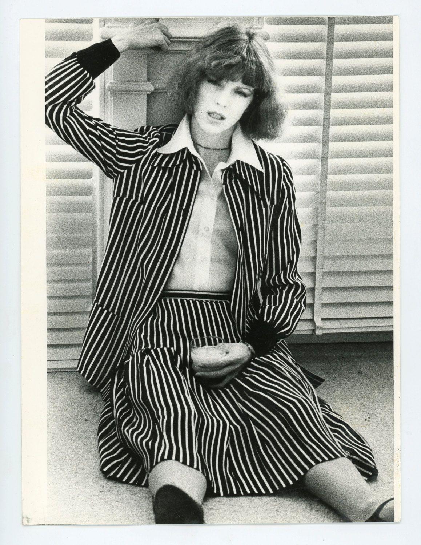 lady girl womens fashion model black and white photo 1970s vest jacket trousers ensemble Vintage fashion photo