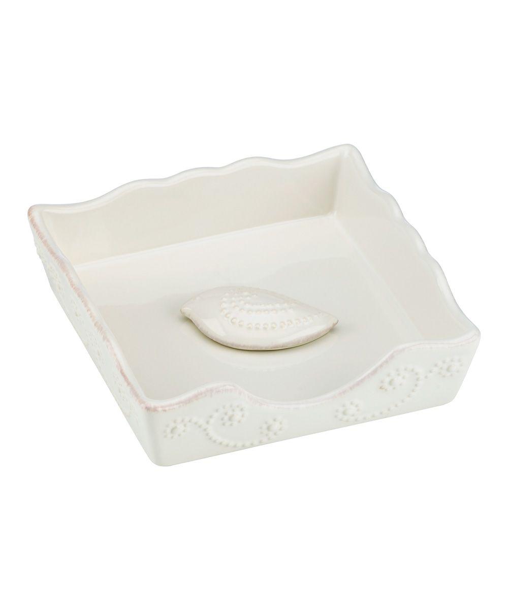 White French Perle Napkin Box